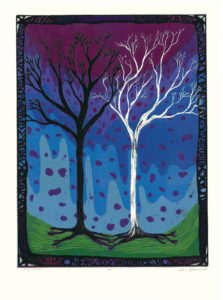 """Tree #2 - Two Trees"" Reduction Relief Print, 2005 Dimensions 24"" x 18"""
