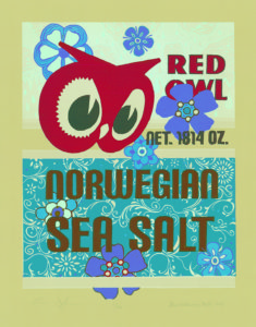 ". ""Norwegian Sea Salt"" Reduction Relief Print 2012 Dimensions 22.5"" x 18""            (Wallowing Bull/Johnson Collaboration)"